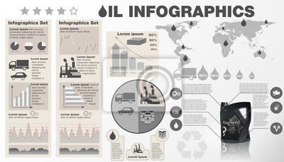 Ilustracja wektorowa infographic branży naftowej. Szablon z mapą i ikony oleju silnikowego butelki, wykresy i elementy do projektowania stron internetowych. Produkcja, transport.