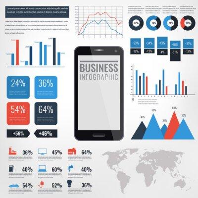 Ilustracja wektorowa infographic szczegółów. Mapa świata i grafika informacyjna z ekranem dotykowym telefonu komórkowego.