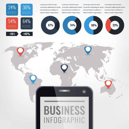 Ilustracja wektorowa infographic szczegółowo. Mapa świata i grafika informacyjna.