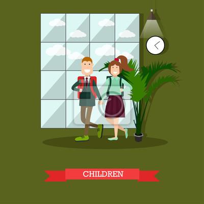 Ilustracja wektorowa koncepcja dzieci w stylu płaski