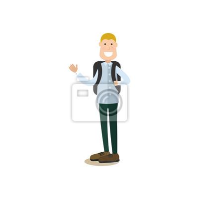 Ilustracja wektorowa koncepcja student w płaski