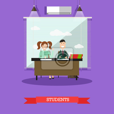Ilustracja wektorowa koncepcja studentów w stylu płaski