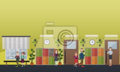 Ilustracja wektorowa koncepcja szkoły w stylu płaski