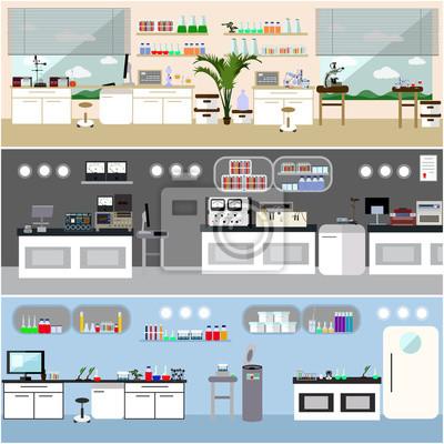 Ilustracja wektorowa laboratorium. Wnętrze laboratorium nauki. Koncepcja edukacji biologii, fizyki i chemii. Sprzęt naukowy