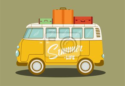 Ilustracja wektorowa retro autobusu