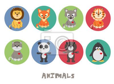 Ilustracja wektorowa śmieszne zwierząt zestaw ikon