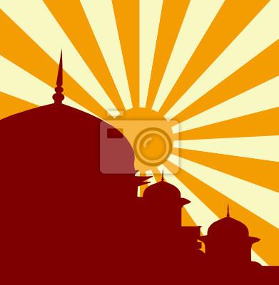 Ilustracja wektorowa z meczetu w zachodzie słońca