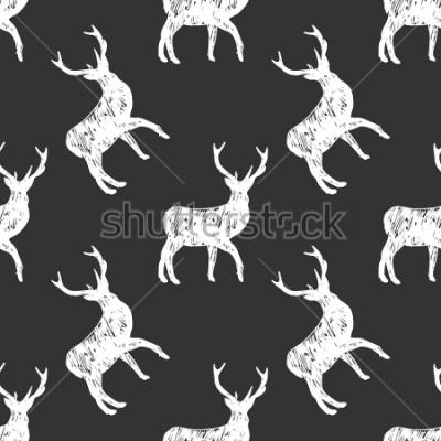 Obraz ilustracja wzór sylweta jelenia. Biali przedmioty na zmroku - szary tło - kredowa ręka rysująca imitacja.