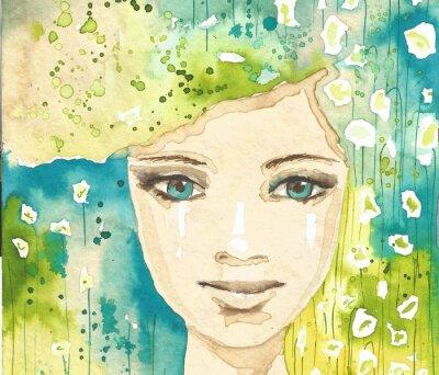 Obraz Ilustracja z abstrakcyjnego portret kobiety