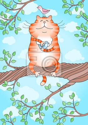 Obraz Ilustracja zabawne kot trzyma ptaszek w łapach