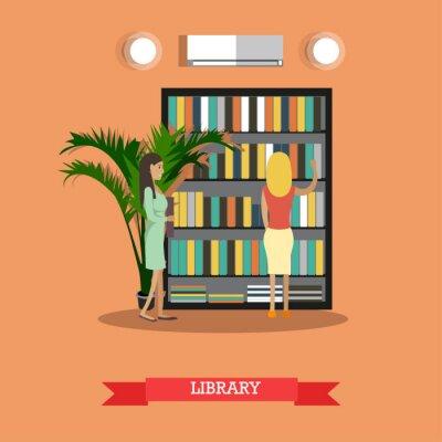 Ilustracji wektorowych biblioteki uczelni lub uniwersytetu w stylu płaskim