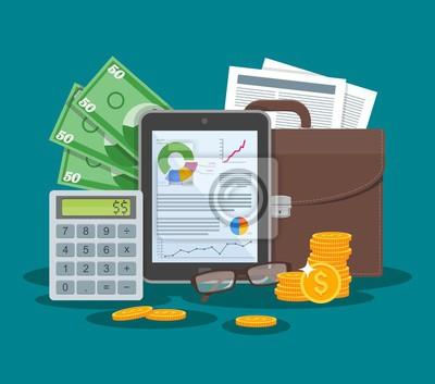 ilustracji wektorowych Biznes i koncepcji finansowania w płaskiej konstrukcji stylu. Tablet z wykresów finansowych, wykresy.