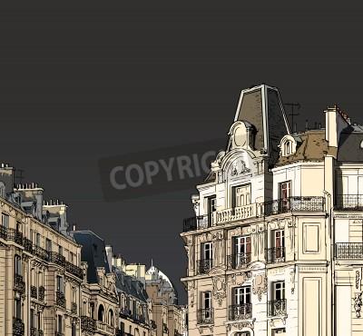Obraz Ilustracji wektorowych fasad w Paryżu w sztormowej pogody