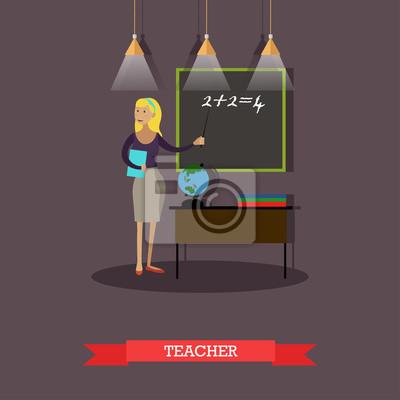 Ilustracji wektorowych nauczyciel matematyki w stylu płaskiej
