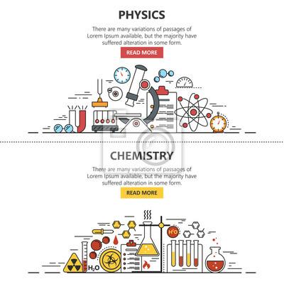 Ilustracji wektorowych transparentu nauki w stylu wiersza. Elementy konstrukcyjne chemii i fizyki, symbole, ikony.