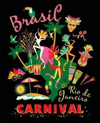 Obraz Ilustracji wektorowych z brazylijskiego karnawału.