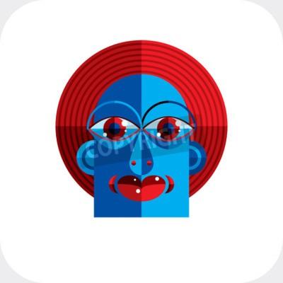 Obraz Ilustracji wektorowych z dziwacznym modernistycznej avatar, zdjęcie kubizm tematem. Wyraz twarzy danej osoby.