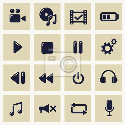 Ilustracji wektorowych z ikon zestaw symboli multimedialnych