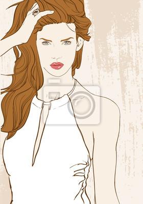 Obraz Ilustracji wektorowych z mody dziewczyna w białej sukni
