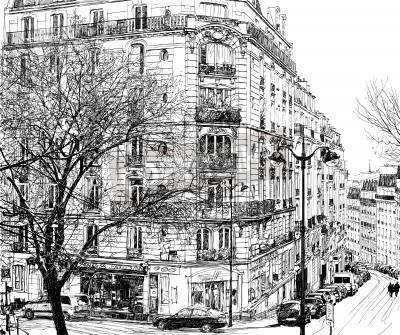 Obraz Ilustracji wektorowych z widokiem Montmartre w Paryżu w ramach pierwszego zimowego śniegu
