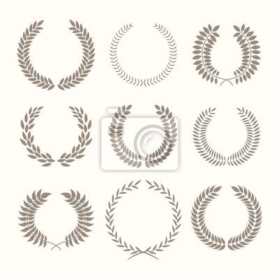 Ilustracji wektorowych z wieńcami laurowymi na białym tle.