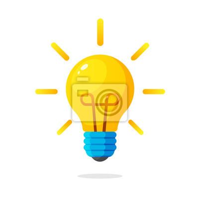 Obraz Ilustracji wektorowych. Żarówka z promieniami światła. Symbol energii i idei. Ozdoby na karty okolicznościowe, łaty, nadruki na ubrań, odznaki, plakaty