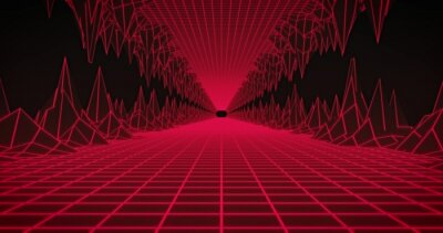 Obraz Image of glowing red grid tunnel moving on seamless loop