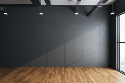 Obraz imalistic hall interior with empty gray wall