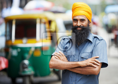 Obraz Indian auto riksza kierowcy tuk-man tut