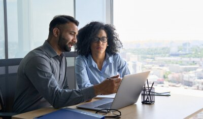 Obraz Indian male ceo executive manager mentor giving consultation on financial operations to female African American colleague intern using laptop sitting in modern office near panoramic window.