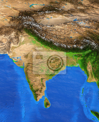 Indie - mapa wysokiej rozdzielczości