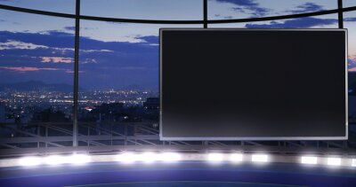 Obraz Industrial TV show backdrop with an empty screen. Ideal for virtual tracking system sets, with green screen. (3D rendering)