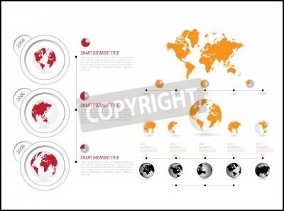 infografika ilustracji wektorowych. Mapa świata i grafika informacyjne