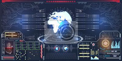 Infografika lub interfejs technologii do wizualizacji informacji. Nauka i przestrzeń, technika i science fiction, motyw analizy Hologram planety z futurystycznymi elementami projektu hud z wykresem sł