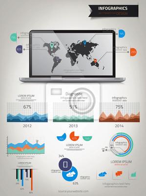 Infografiki ustawiony. Mapa świata i grafika informacyjne. Wektor