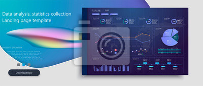 Infographic dashboard template with flat design graphs and charts.Processing and analysis of data.Modern modern infographic vector template with Online statistics and data analytics graphs and finance