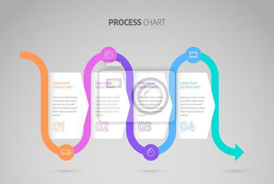 Infographic design timeline or process chart. Business data element of chart, graph, diagram with 4 steps, options, processes.