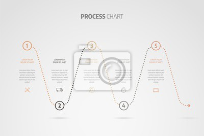 Infographic design timeline or process chart. Business data element of chart, graph, diagram with 5 steps, options, processes.