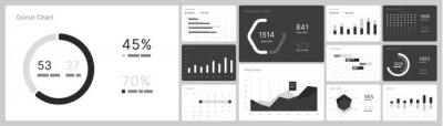 Infographic elements in white and black colors. Use in presentation templates, flyer, leaflet and corporate report. UI and UX Kit with big data visualization.