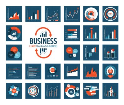Infographic elements. Set of simple templates - circle, pie chart, world map, arrow, timeline, diagram, graph etc. Can be used for web, analytics, statistics, presentation, data visualization, report