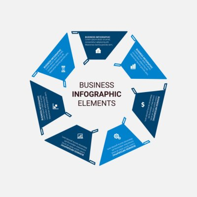 Infographic template with 3, 4, 5, 6 options. Can be used as a chart, diagram, graph, workflow layout, for web, report, business infographics.
