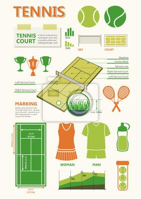 Informacje grafiki zawarte w zielonych kolorach do gry w tenisa.
