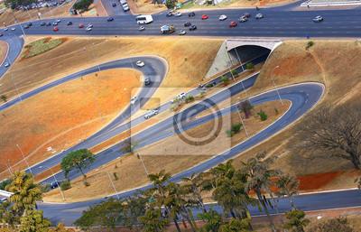 Obraz Infrastruktury drogowej w Brasilii, stolicy Brazylii.