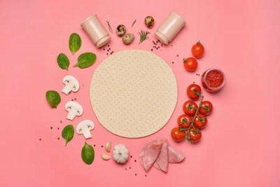 Obraz Ingredients for tasty pizza on color background