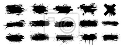 Obraz Ink splashes stencil very detailed collection. High quality manually traced. Black inked splatter dirt stain splattered spray splash with drops blots. Isolated  Silhouettes dirty liquid vector grunge