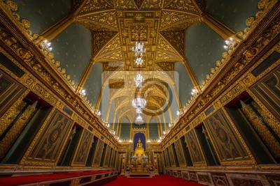 Inside the ordination hall of  Wat Ratchabophit, Buddhist Temple of Thailand (Bangkok, Thailand)
