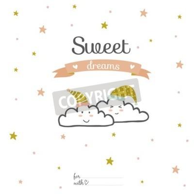 Obraz Inspirująca karta romantyczna i miłosna dla Happy Valentines Day. Szablon na wesele, dzień matki, urodziny, zaproszenia. Powitanie śliczne pragnienie z cute uśmiechniętych chmur. Słodkie sny
