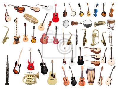W superbly Obraz instrumenty muzyczne na wymiar • złoto, klasyczny, tło QN81