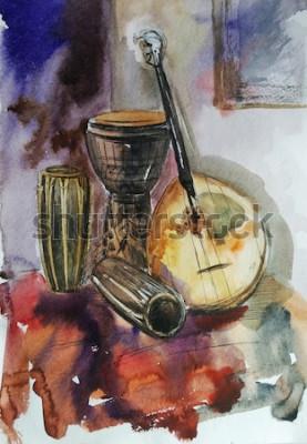 Obraz Instrumenty muzyczne, bongo, tamtam, domra, ręcznie rysowane akwarela ilustracja, martwa natura