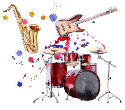 Obraz Instrumenty muzyczne. Saksofon, gitara i bęben. Samodzielnie na białym tle.